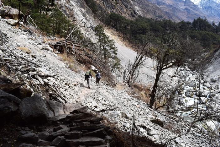 Crossing a landslide -danger of rockfalls Credit Andrew Waterworth