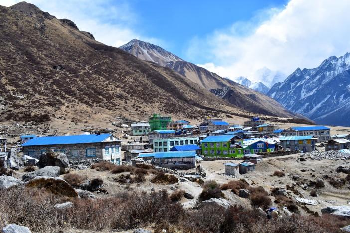 Kyanjin village, our destination Credit Andrew Waterworth