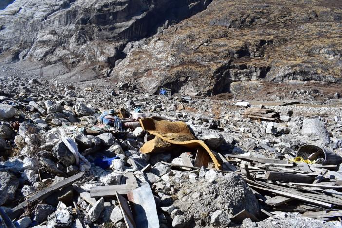 Landslide that destroyed Langtang village 3 -landscape still covered in debris Credit Andrew Waterworth